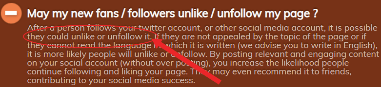 unfollow statement on easysocials