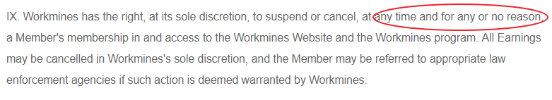 workmines cancellation terms