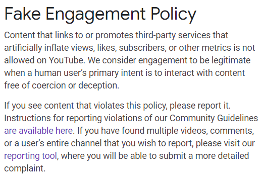 youtube fake engagement policy