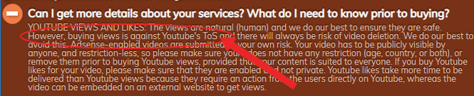 youtube tos on easysocials