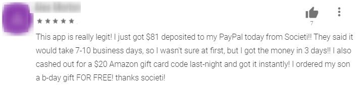 societi app payment proof