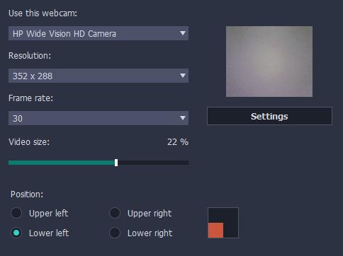 additonal movavi webcam settings