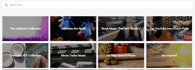 flexclip music categories