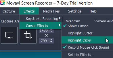 movavi screen recorder cursor effects