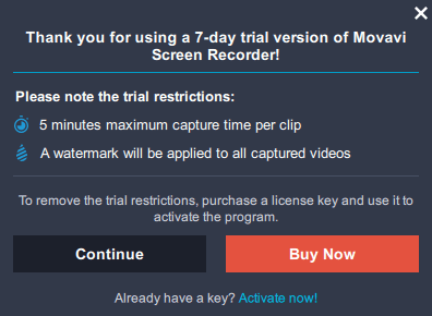 movavi screen recorder free version limitations