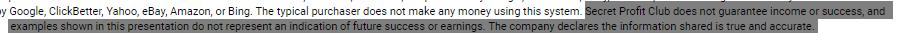 secret profit club no guarantee
