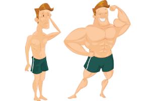 strong man next to weak man