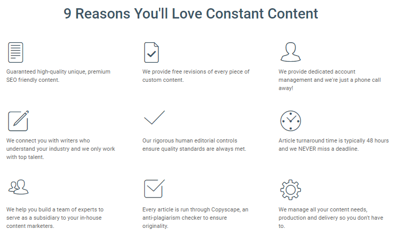 constant content main features for article buyers