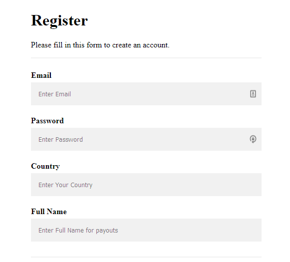 paycate registration form