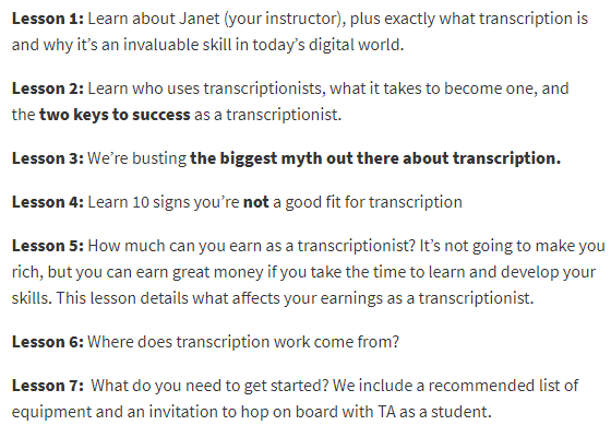 transcribe anywhere mini course syllabus