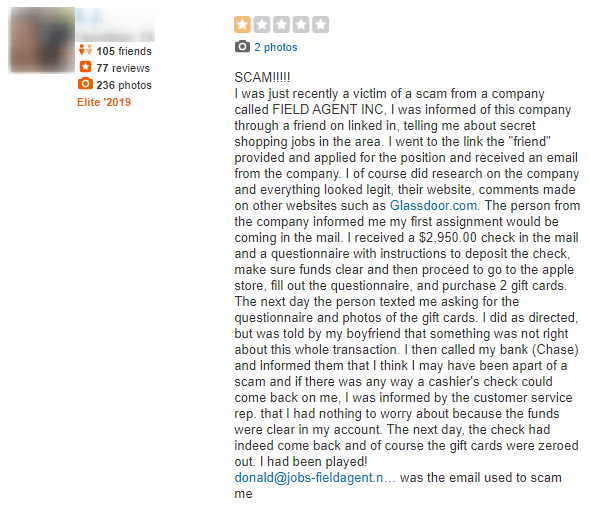 field agent scam complaint