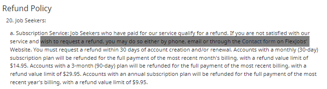 flexjobs refund policy