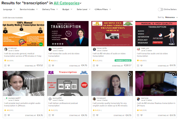 transcription jobs examples fiverr