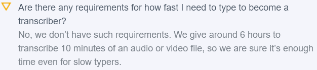 typing speed requirements on gotranscript