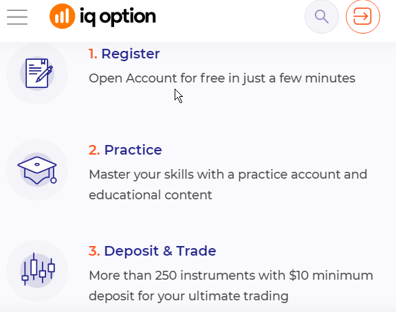 3 steps to become trader at IQ Option