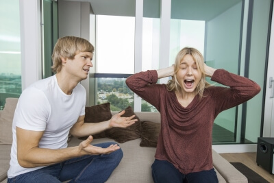 man annoying woman with mlm recruitment