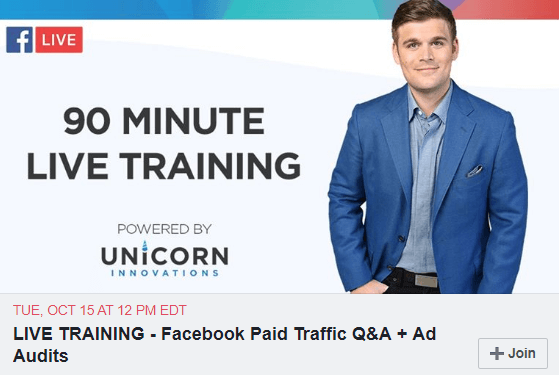 paid traffic training live training announcement