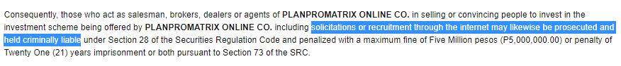 planpromatrix sec warning