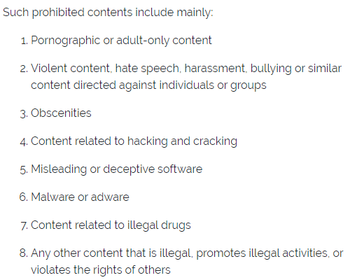 prohibited content on linkvertise