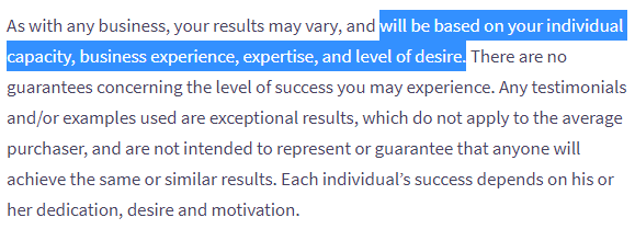 3 step method income disclaimer