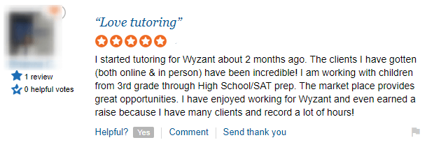 positive wyzant tutor review