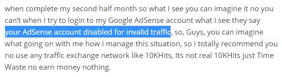 google adsense disabled becasue of 10khits traffic