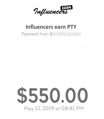 influencersearn payment proof